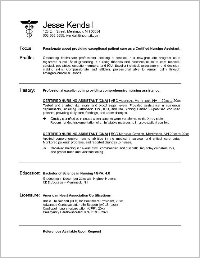 Best Resume For Nursing Assistant