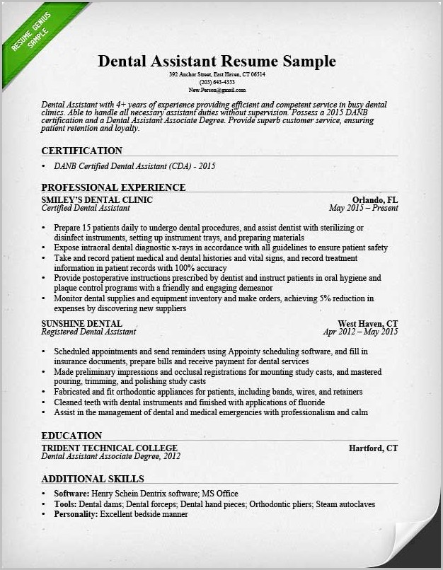 Certified Dental Assistant Resume Template