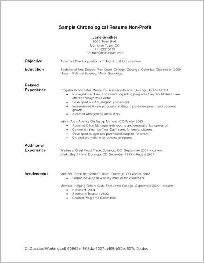 Chronological Resume Template For Mac