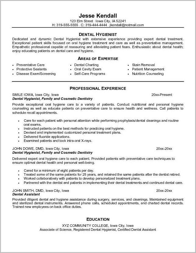 Dental Assistant Resume Sample Template