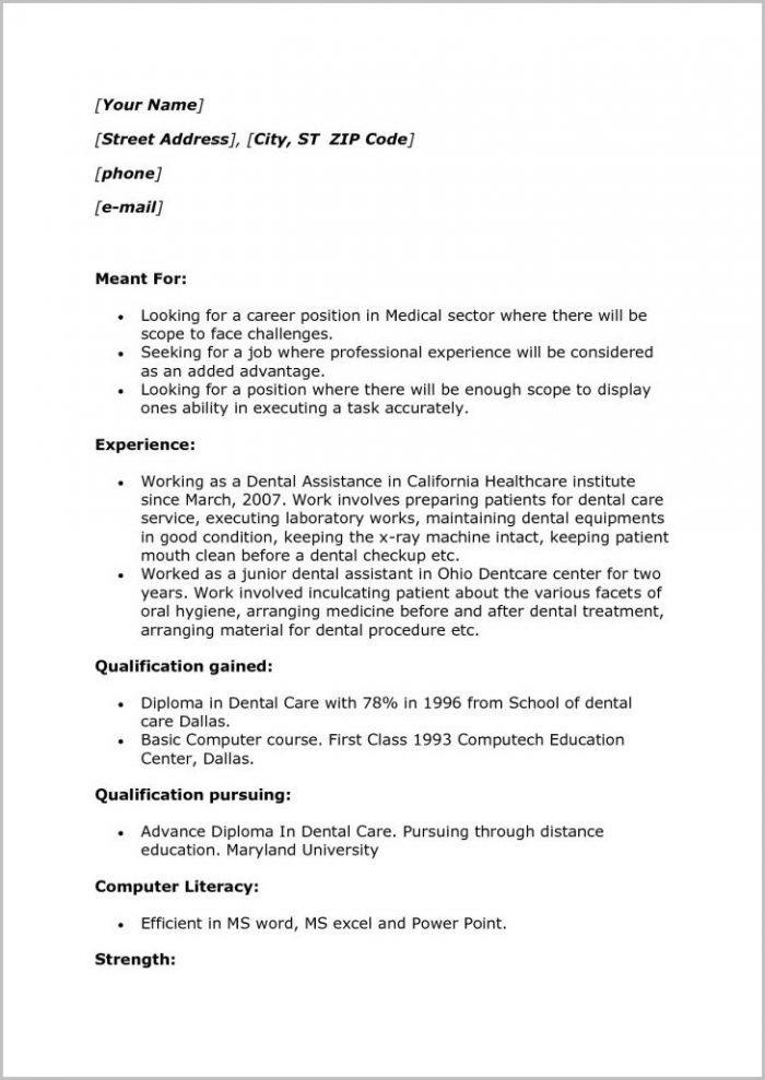 Dental Assistant Resume Samples No Experience