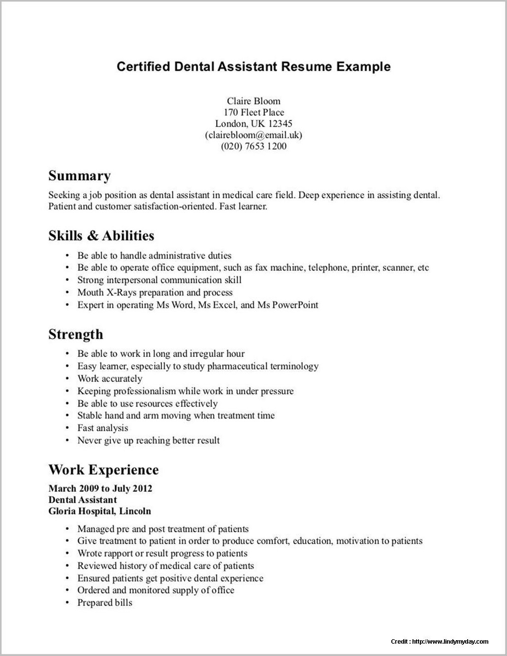 Dental Assistant Student Resume Template