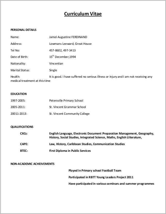 Example Of A Simple Resume Format