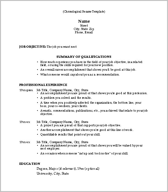 Example Of Professional Chronological Resume