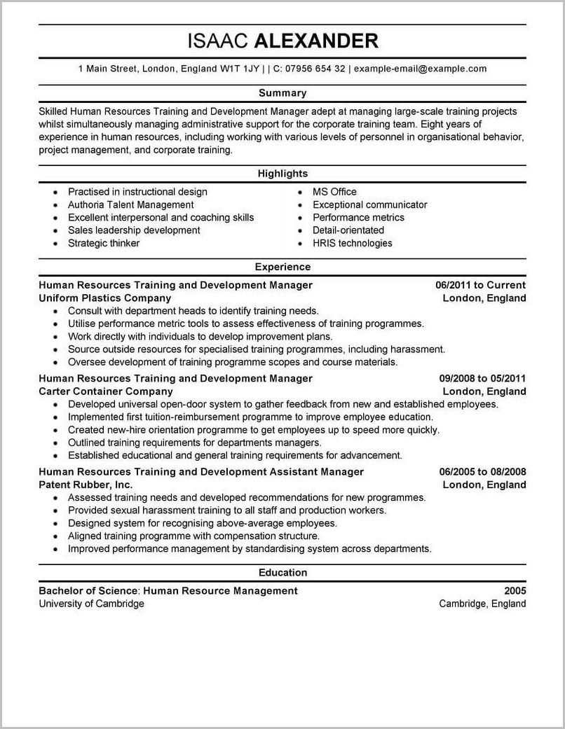 Example Of Professional Development On Resume