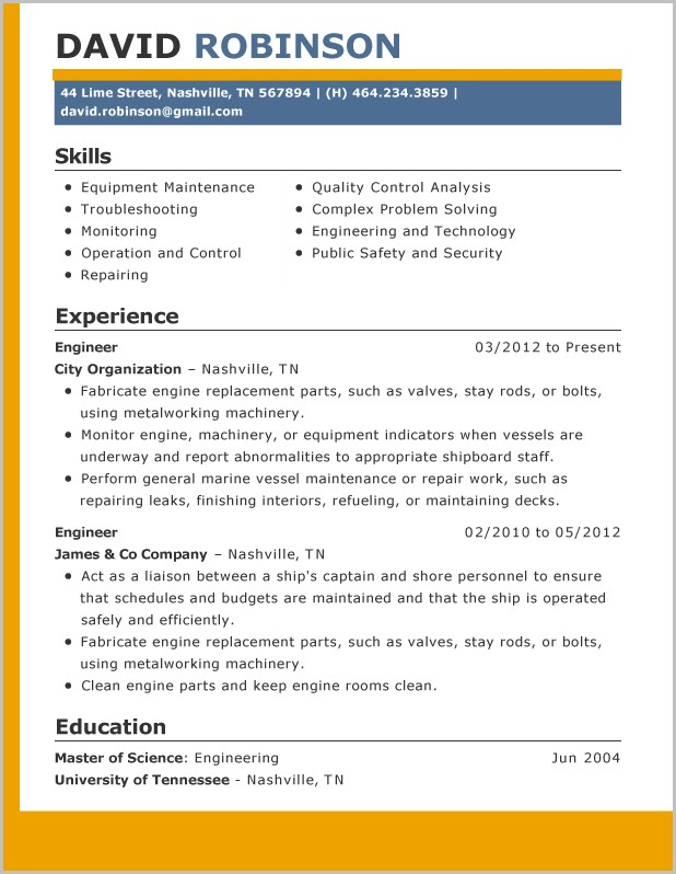 Example Of Professional Resume 2015