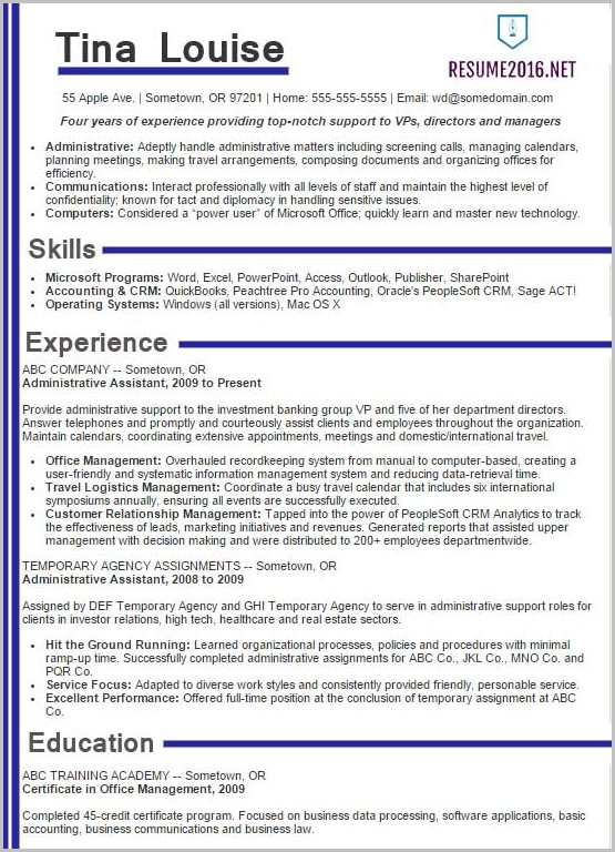 Example Of Professional Resume 2016