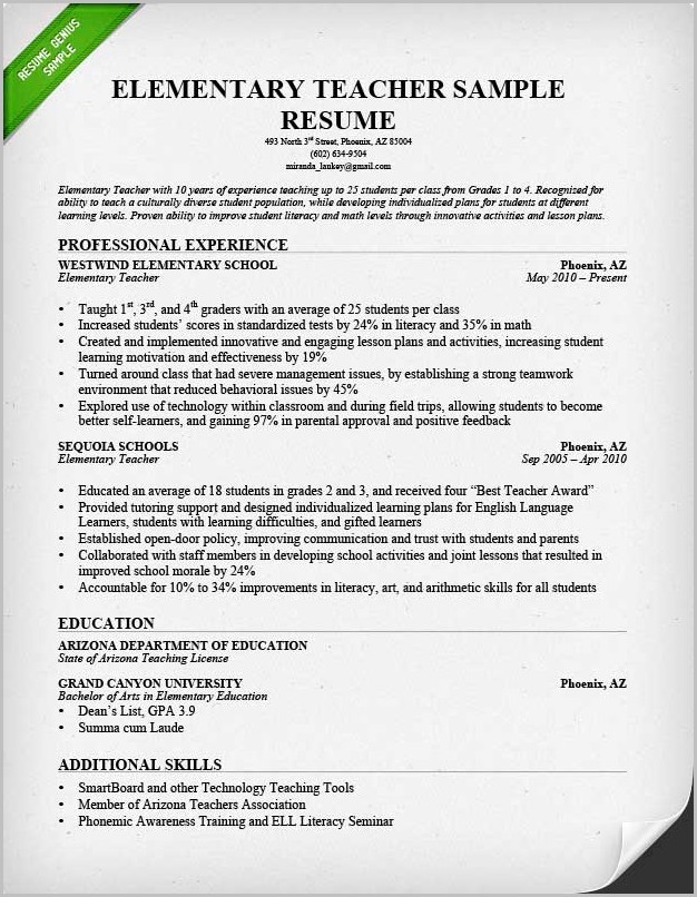 Example Of Professional Teacher Resume