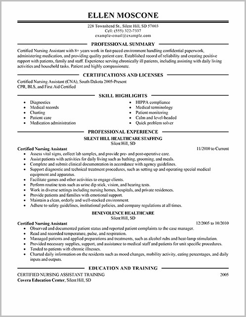 Example Of Resume For Nursing Assistant