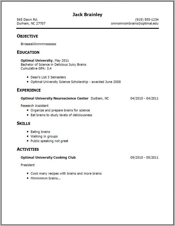 Example Of Simple Student Resume