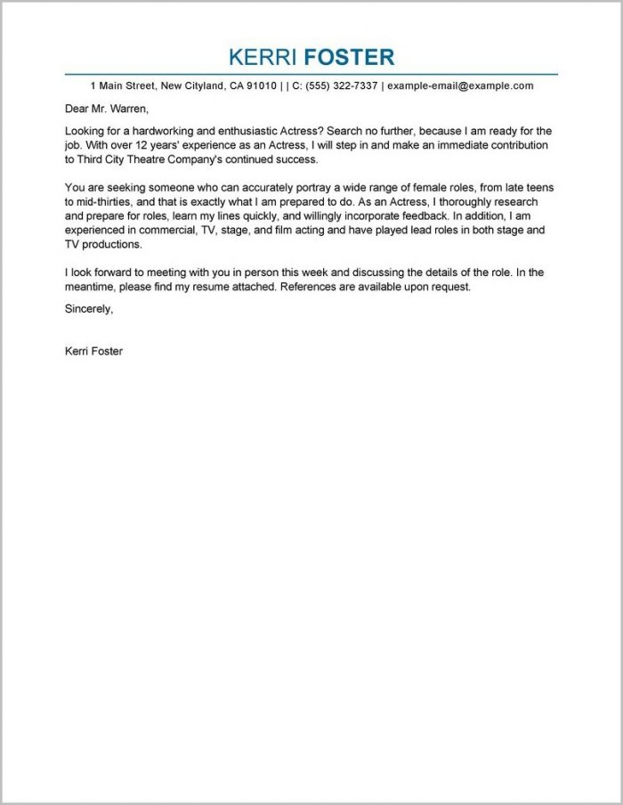 Examples Of Cover Letters For Acting Resumes