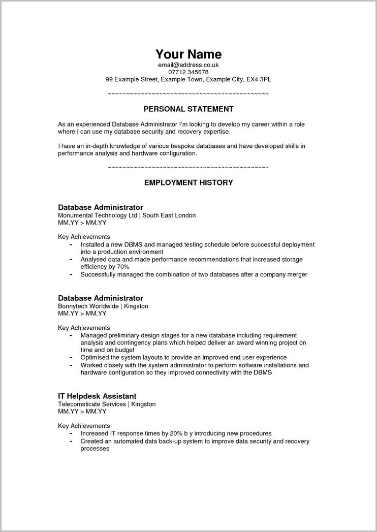 Examples Of Resume Branding Statements