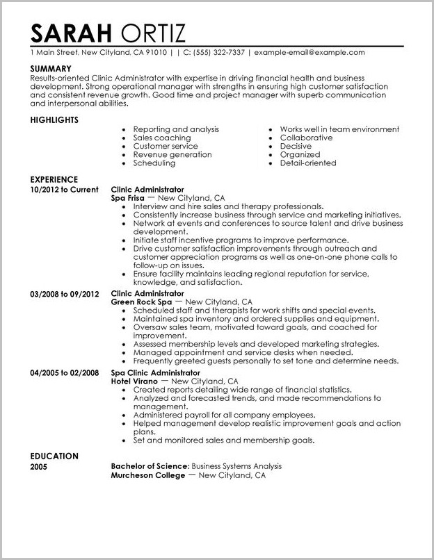 Examples Of Resume Business Administration