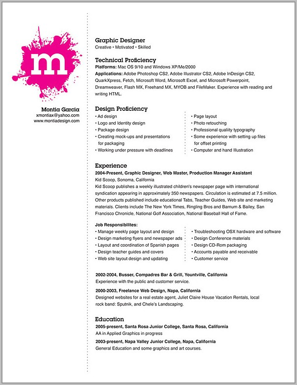 Examples Of Resume Design