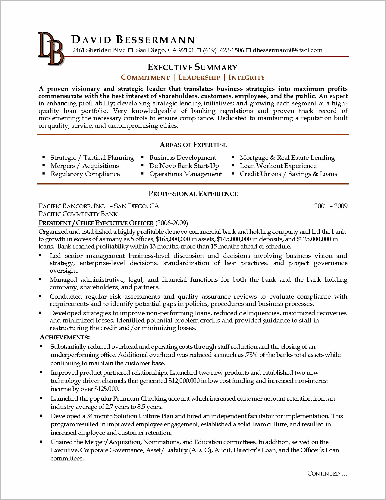 Examples Of Resume Executive Summary