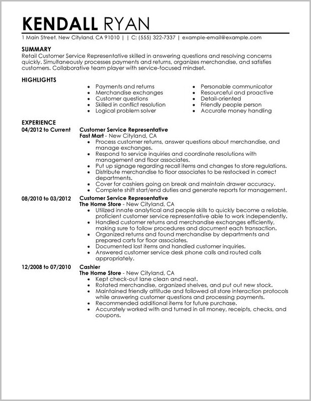 Examples Of Resume Highlights