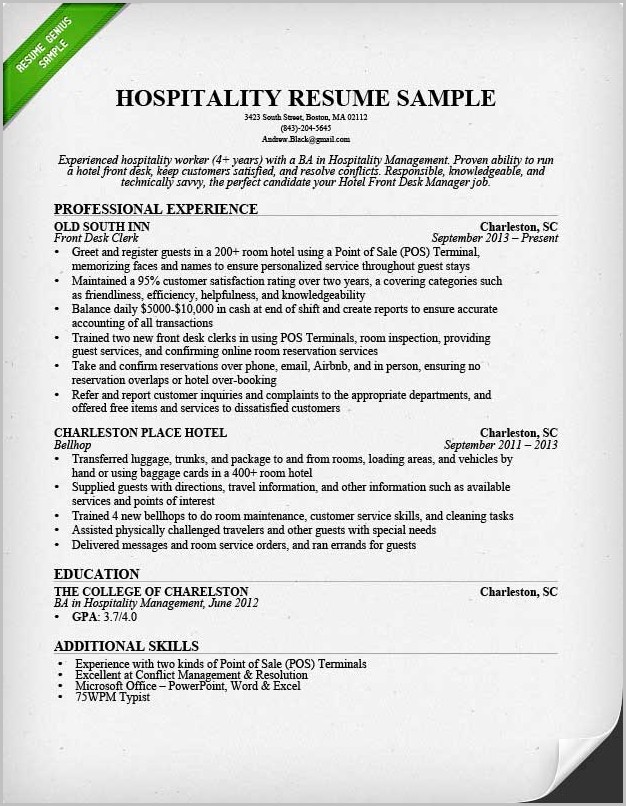 Examples Of Resume Hospitality