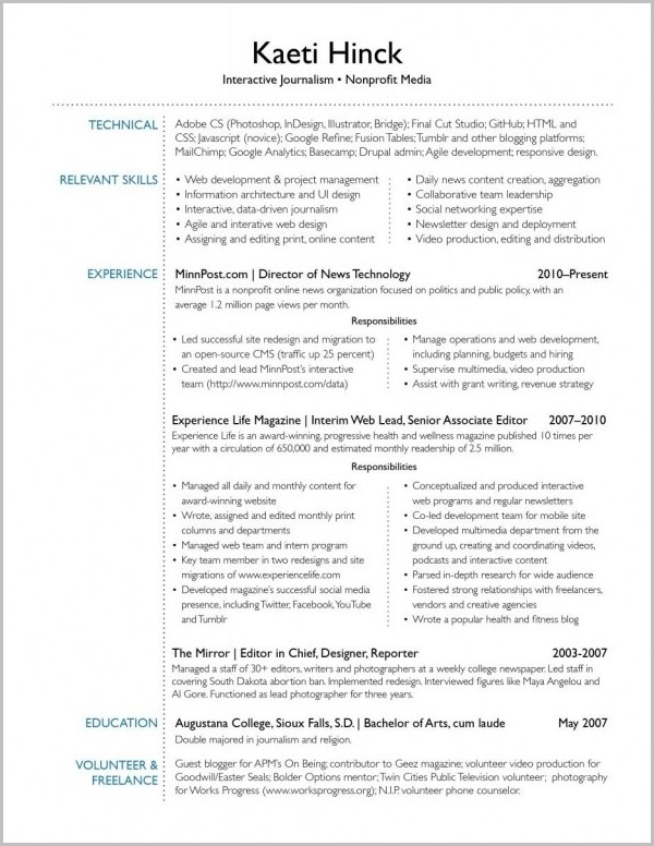 Examples Of Resume Interests