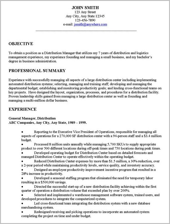 Examples Of Resume Introduction