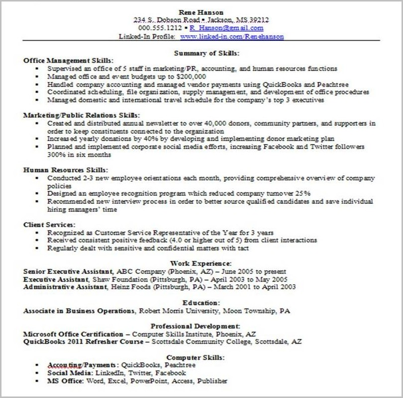Examples Of Resume Job Skills