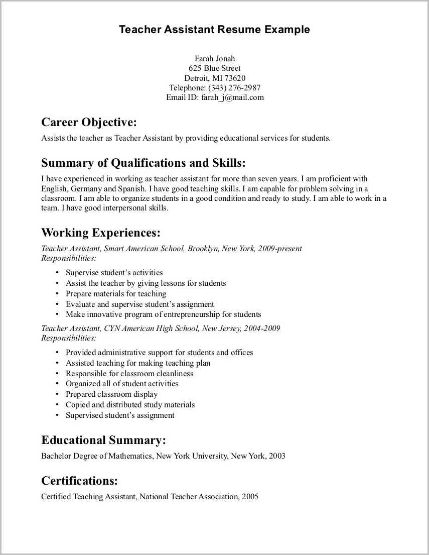 Examples Of Resume Objectives For Teaching