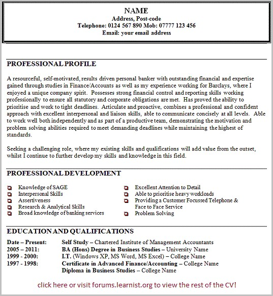 Examples Of Resume Personal Statements