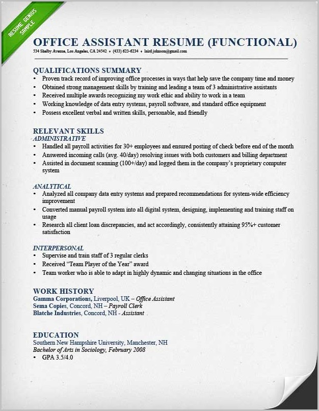 Examples Of Resume Qualification Summary