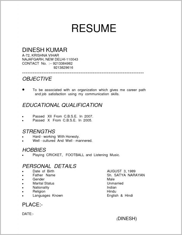 Examples Of Resume Types