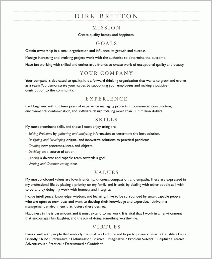 examples of resume virtues