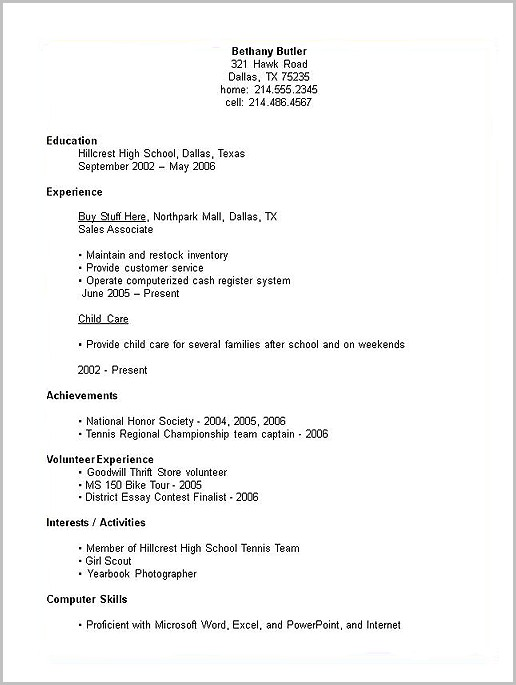 Examples Of Resumes By High School Students