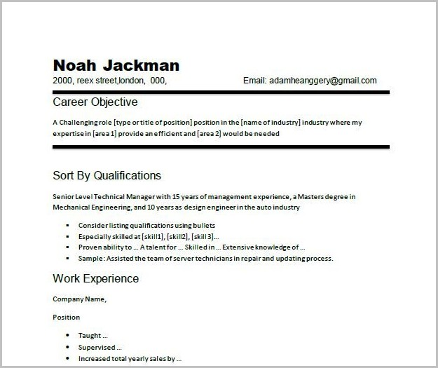 Examples Of Resumes Career Objective