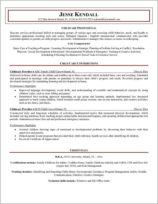 Examples Of Resumes Child Care