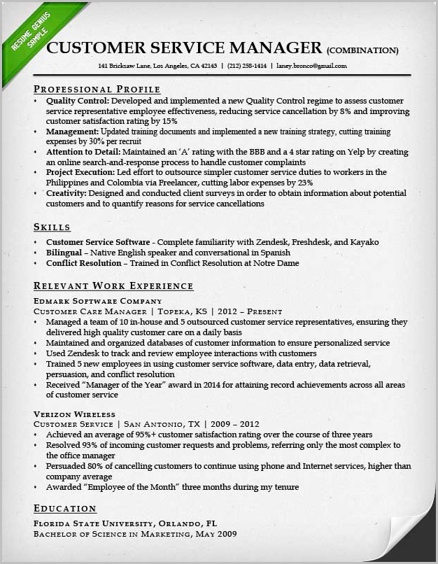 Examples Of Resumes Customer Service