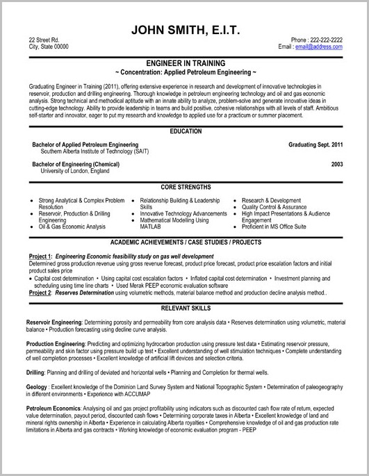 Format Of Professional Resume For Engineers