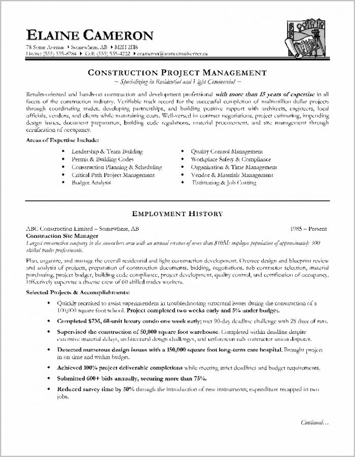 Free Construction Manager Resume Templates