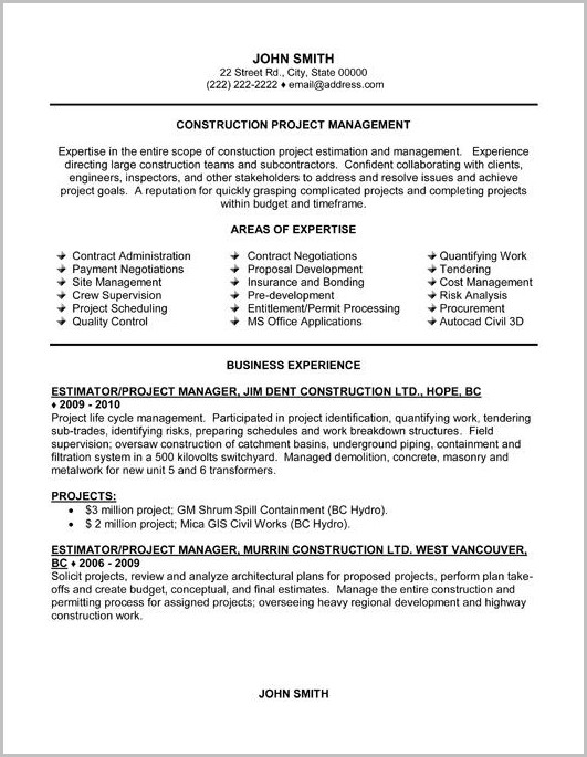 Free Construction Project Manager Resume Templates