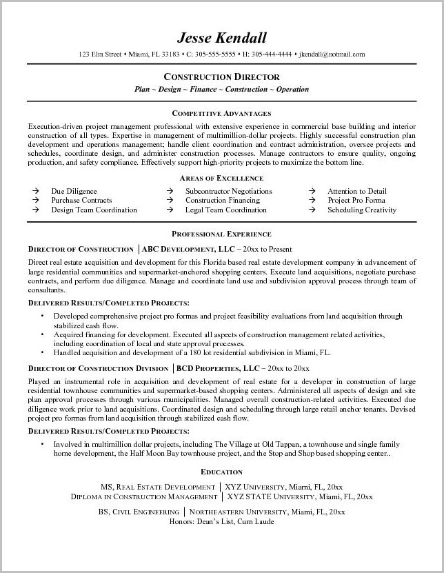 Free Construction Resume Templates Download