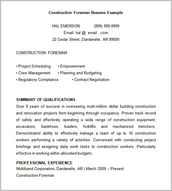Free Construction Resume Templates