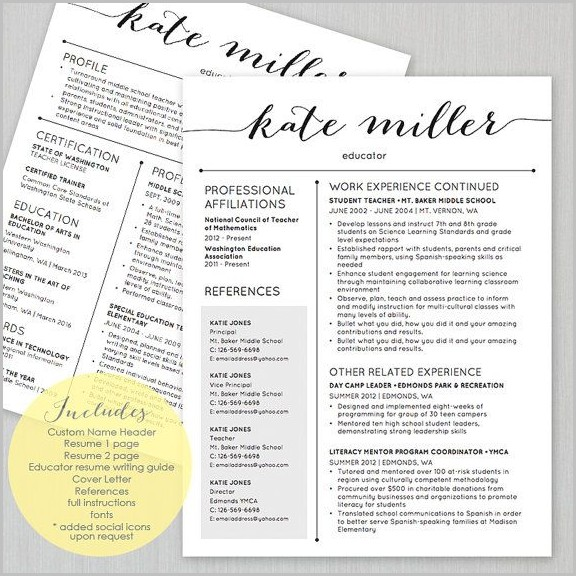 Free Cute Teacher Resume Templates