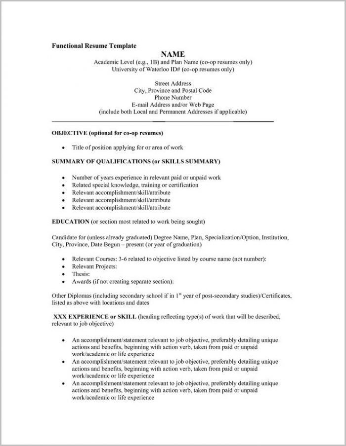 Free Functional Resume Sample