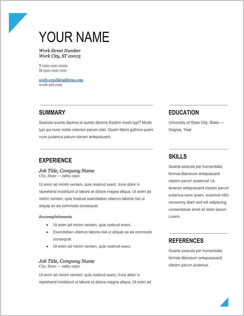 Free Resume Templates 2014 Word