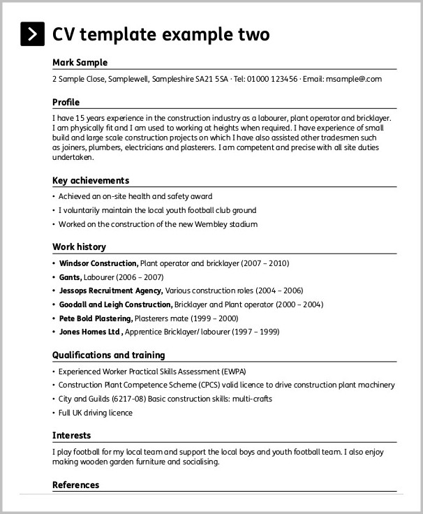 Free Resume Templates Construction Workers