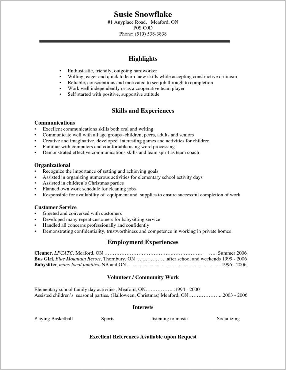 Resume Examples For High School Student Resume Examples High Regarding Job Resume Examples For High School Students