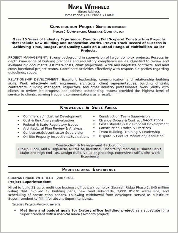 Free Resume Templates For Construction Superintendent