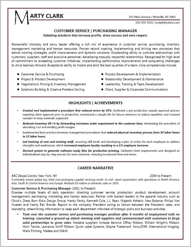 Free Resume Templates For Customer Service Manager