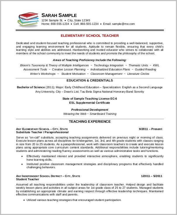 Free Resume Templates For Teacher