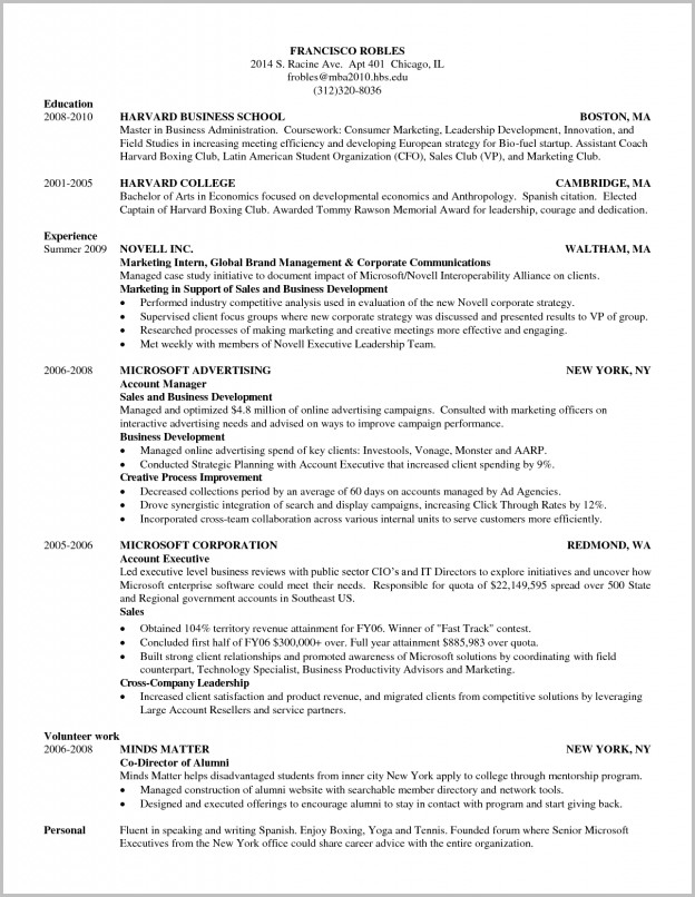 Harvard Business School Resume Template | Samples Of Resumes With Business School Resumes