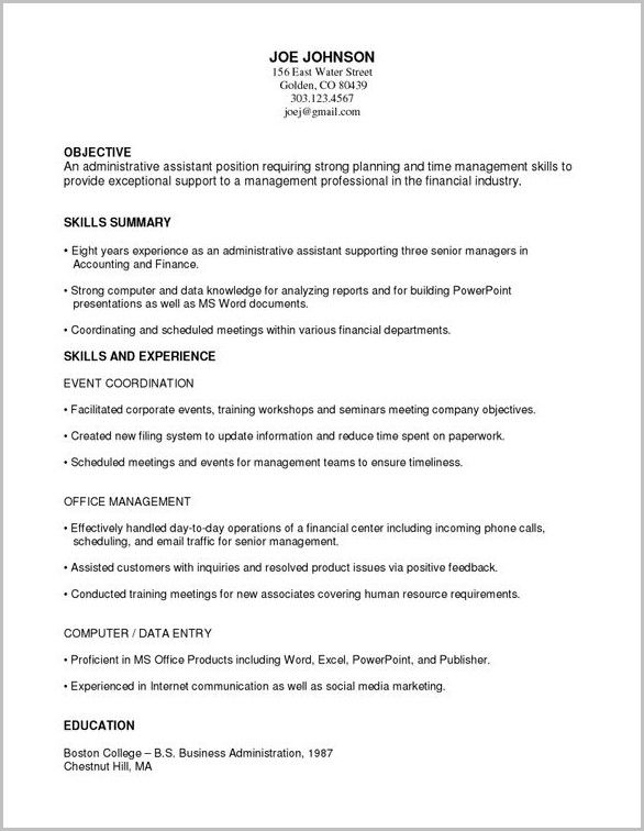 Free Sample Functional Resume Template