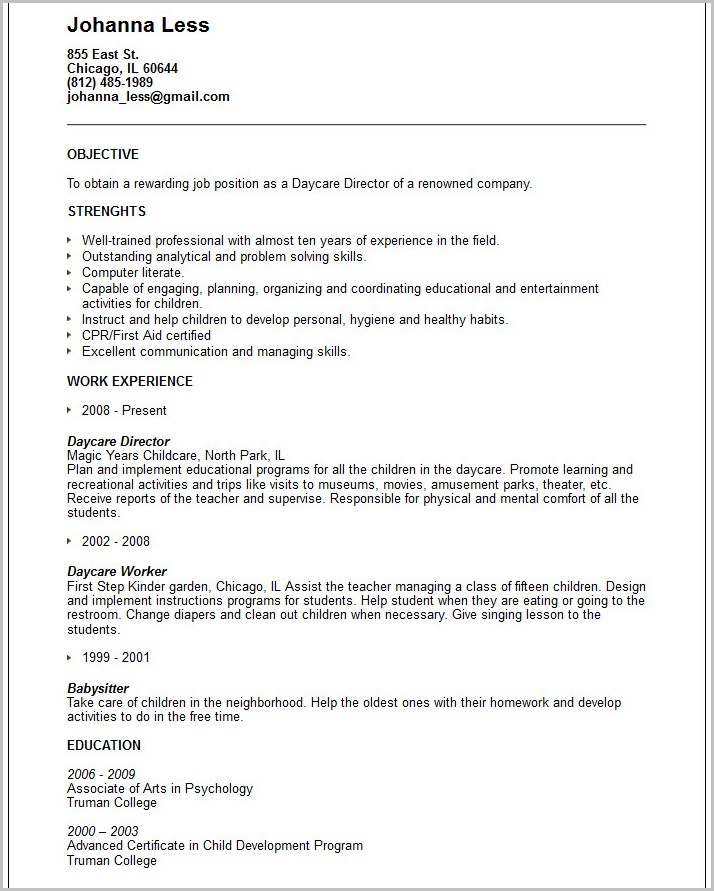 Free Sample Resume For Child Care Provider