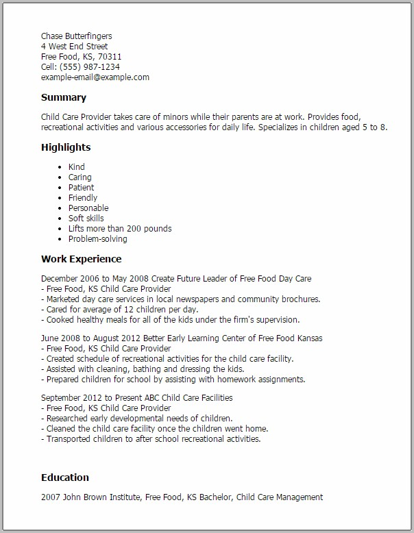 Free Sample Resume For Child Care Worker